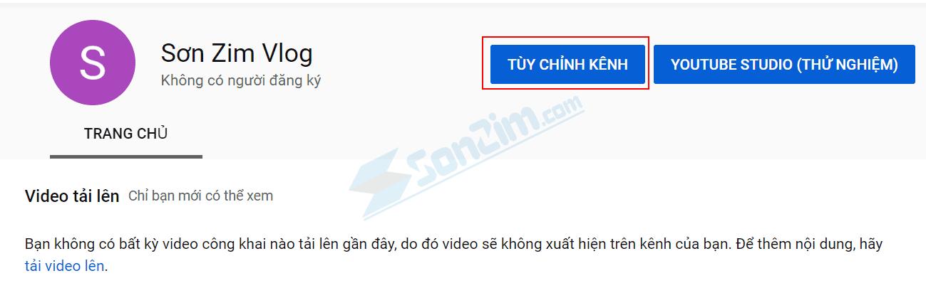 Tùy chỉnh kênh Youtube