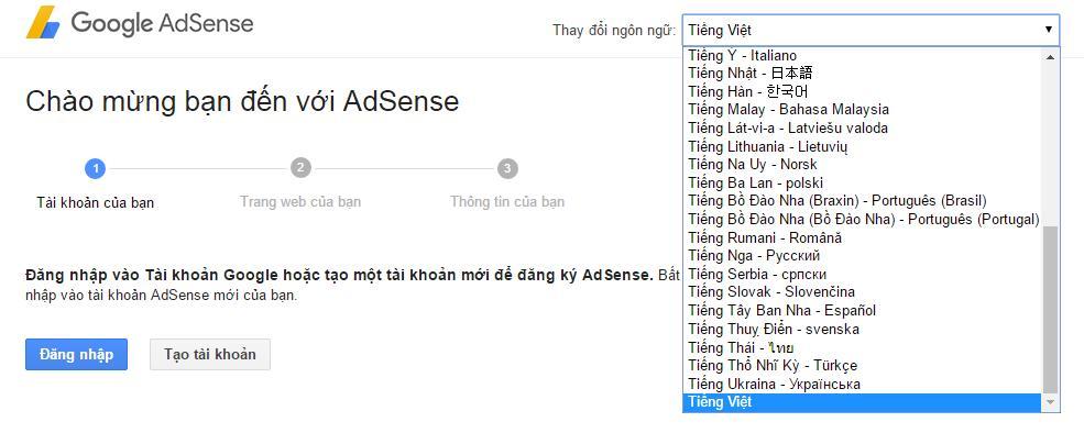dang ky google adsense de kiem tien voi blog
