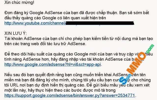 Email thông báo tài khoản Google Adsense được phê duyệt
