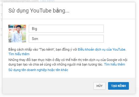 tao kenh youtube de dang video len youtube