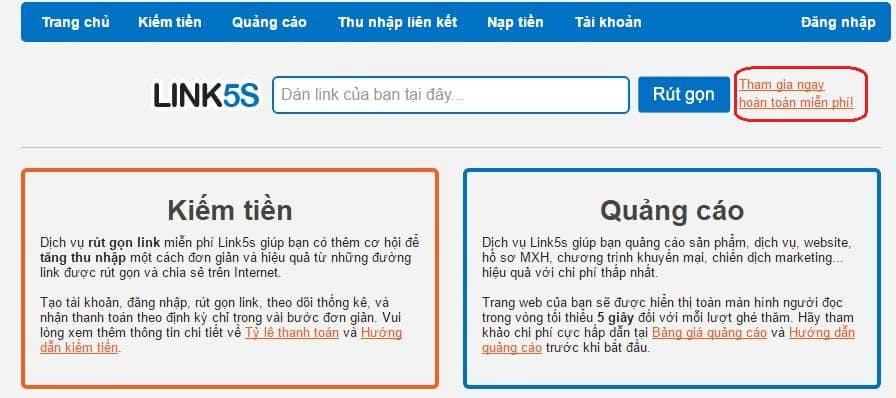 rút gọn link kiếm tiền online với link5s - Ảnh 2