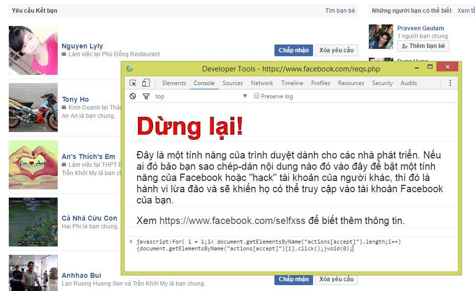 Tu dong chap nhan tat ca loi moi ket ban tren facebook