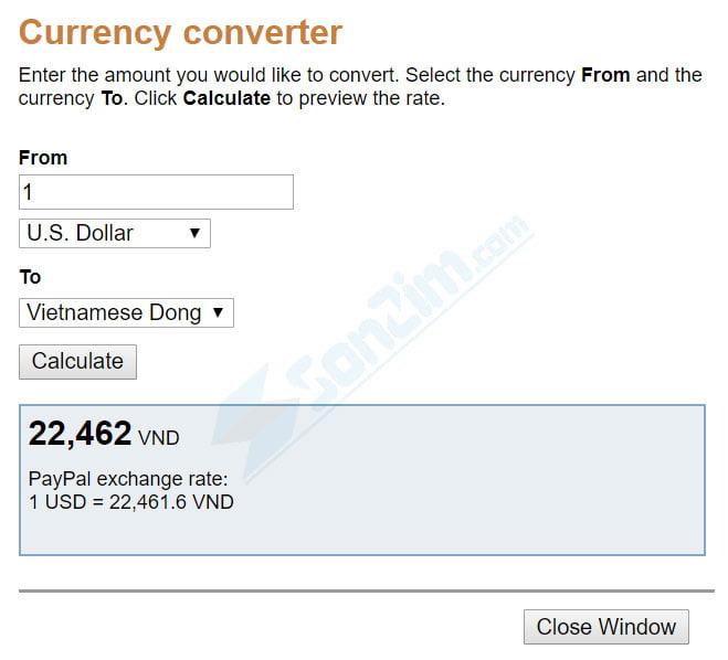 Cách kiểm tra tỉ giá VND/USD trên Paypal - Cách 1
