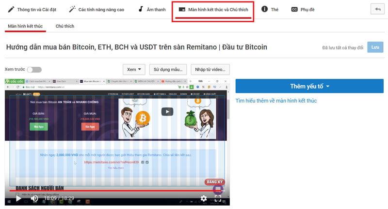 Cách tạo màn hình kết thúc trên Youtube - Bước 3