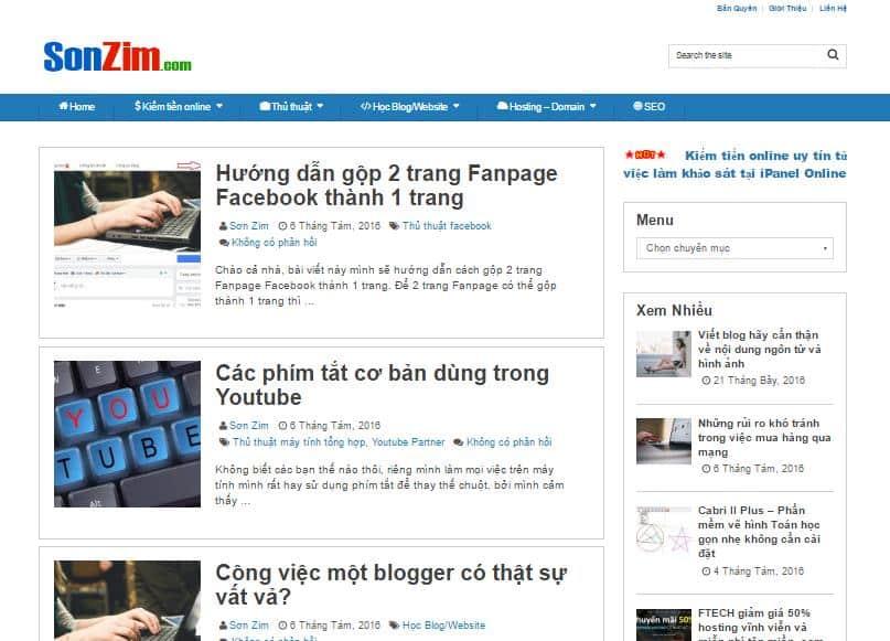 thay đổi giao diện blog SonZim.com