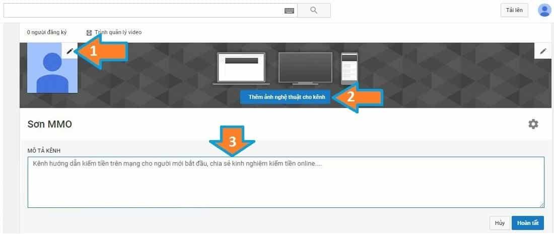 Các bước thiết lập kênh Youtube - 2