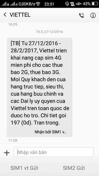 Viettel thông báo đổi sim 4G miễn phí