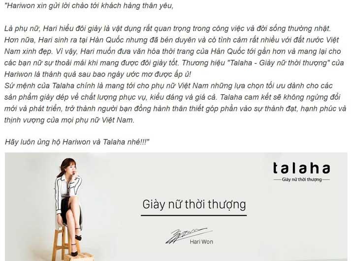 Những website bán hàng online hàng đầu Việt Nam - Giày Talaha của Hari Won
