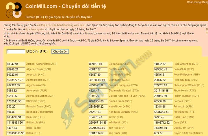 Chuyển đổi tỷ giá bitcoin trên CoinMill - 2