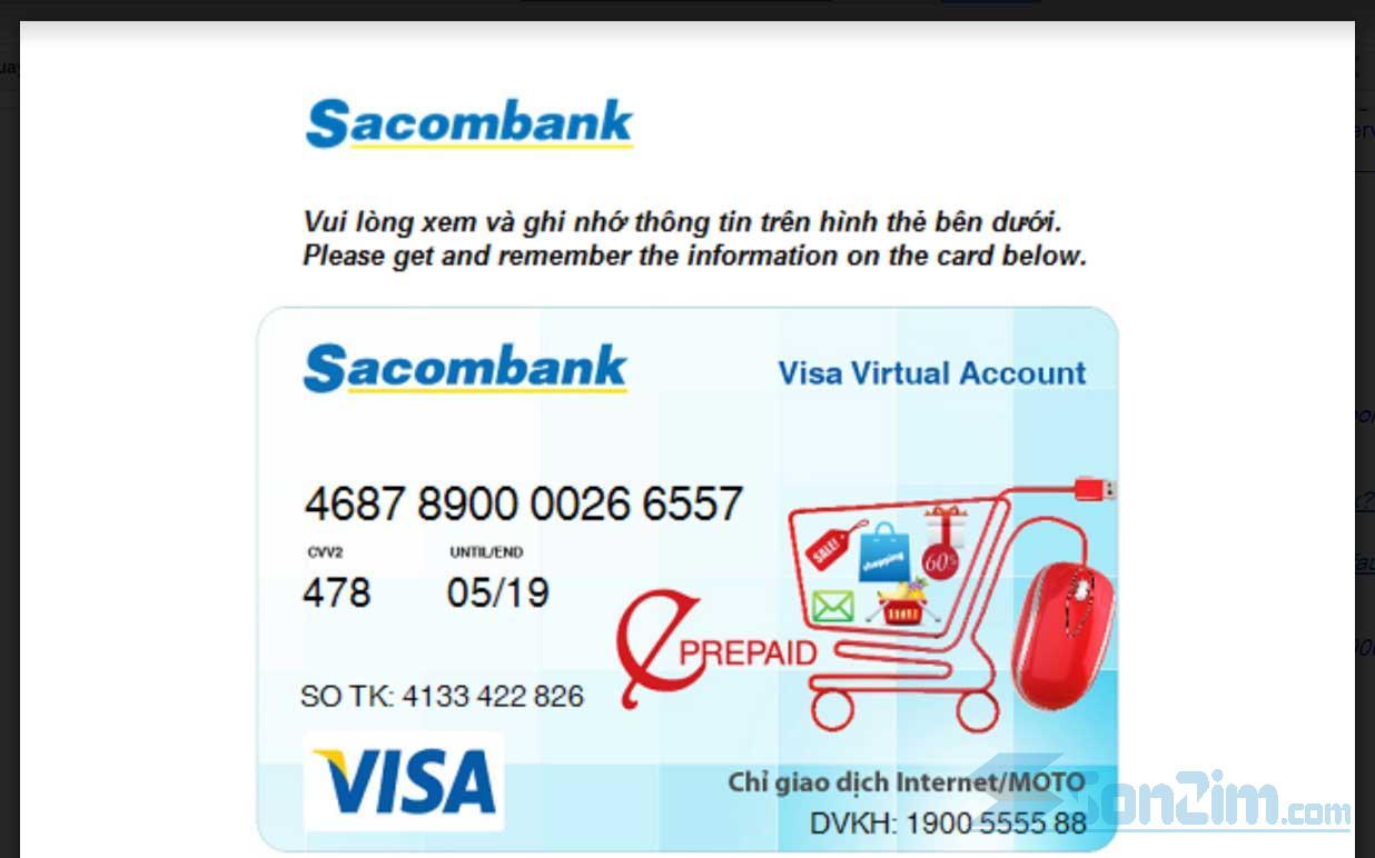 Thẻ Visa ảo Sacombank