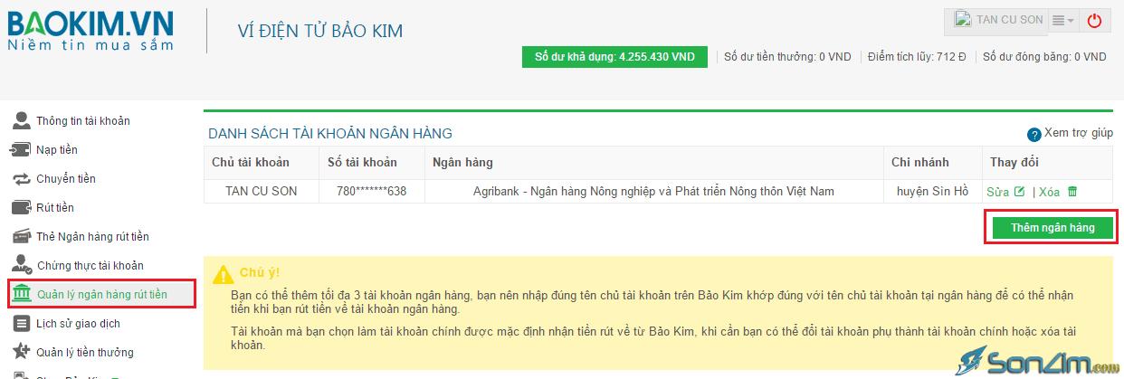 Hướng dẫn rút tiền từ Bảo Kim về tài khoản Ngân hàng - 1