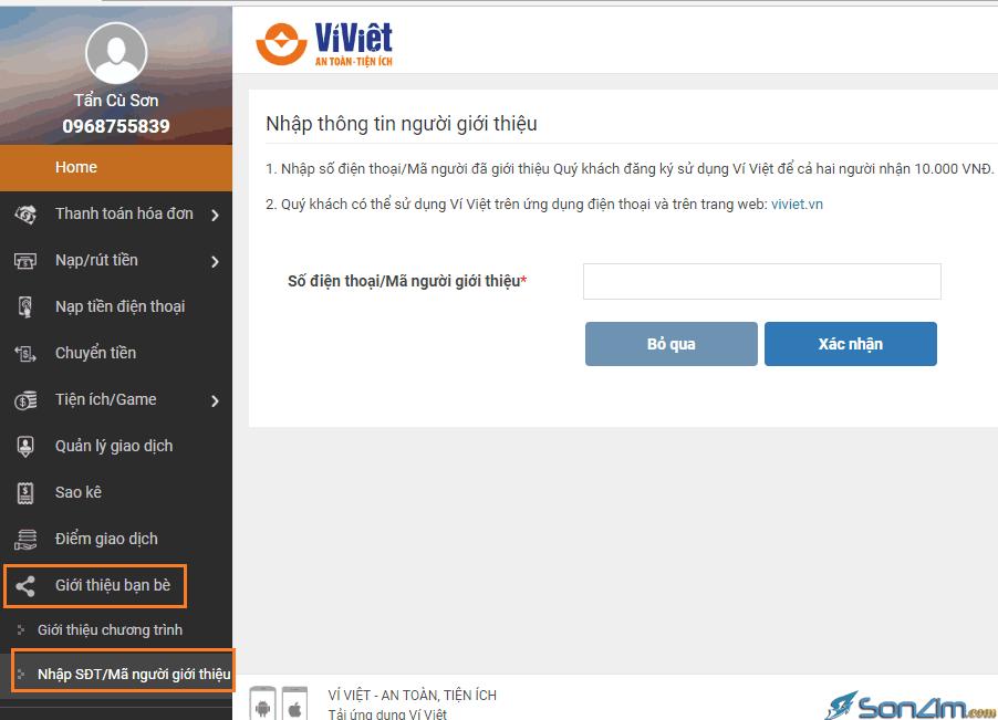 Sử dụng Ví Việt trên máy tính