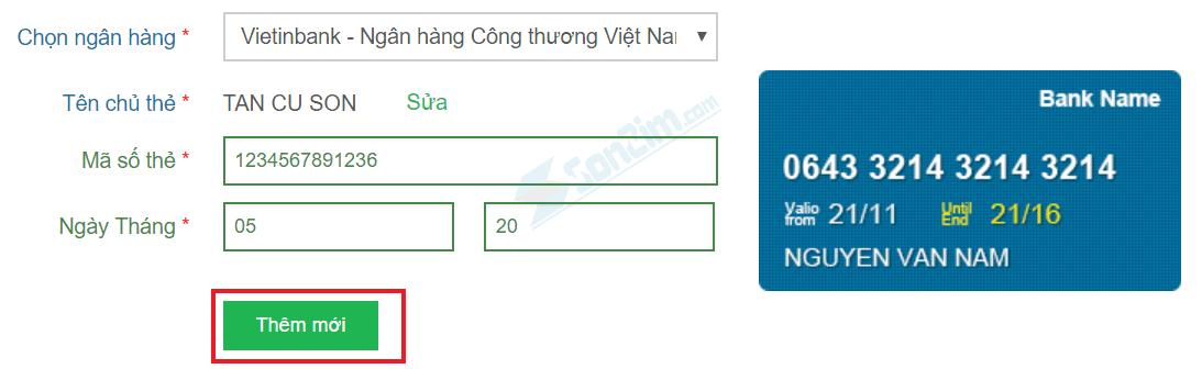 Thêm thẻ Ngân hàng rút tiền vào Bảo Kim - 2