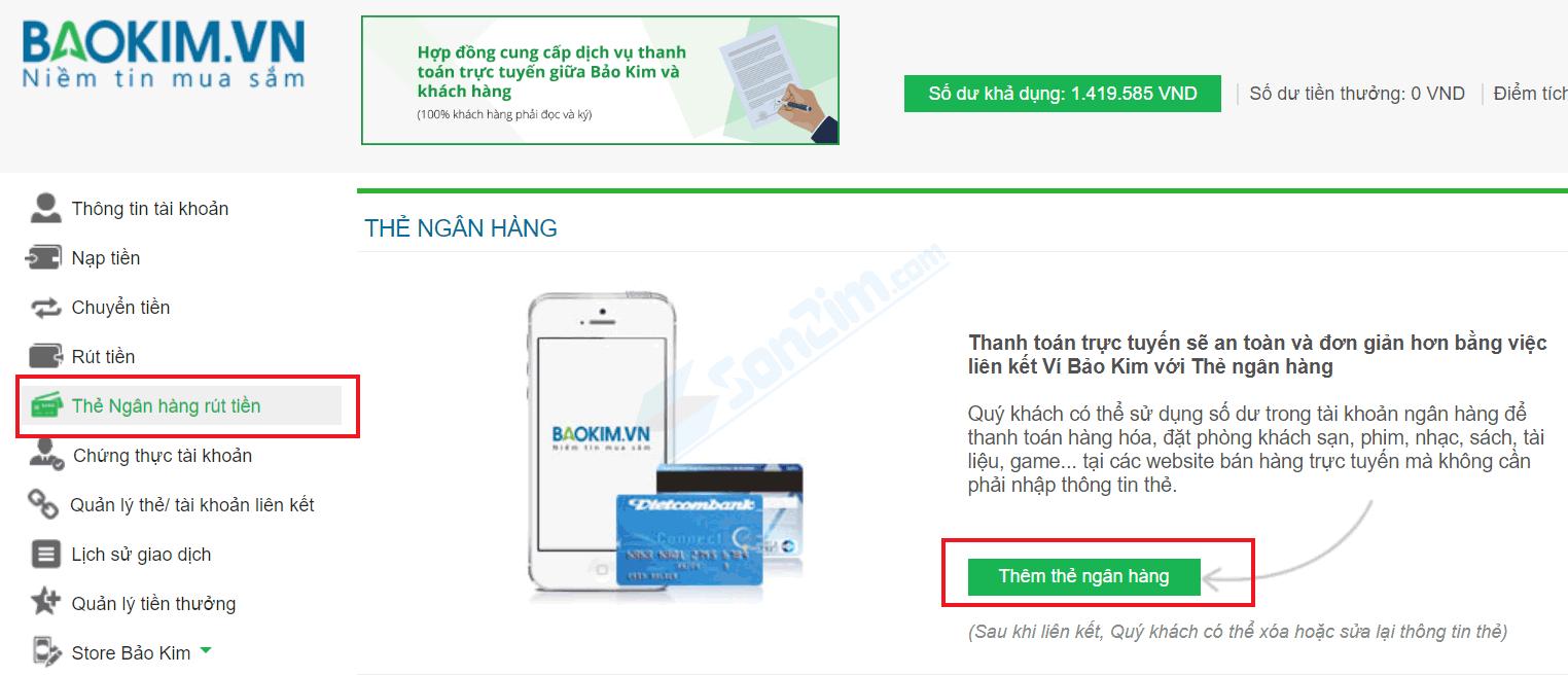 Thêm thẻ Ngân hàng rút tiền vào Bảo Kim - 1
