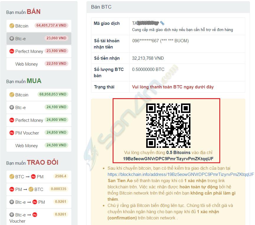 Hướng dẫn bán Bitcoin trên Santienao - 2
