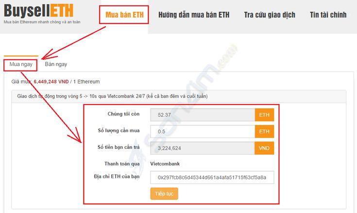 Cách mua bán ETH trên BuysellETH bằng tài khoản ngân hàng Việt Nam - 2