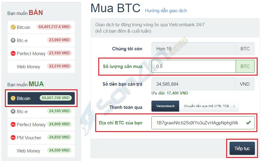 Hướng dẫn mua Bitcoin trên Santienao - 1