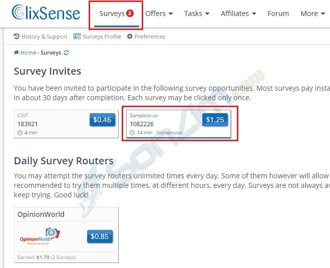 Cách làm khảo sát kiếm tiền vớiClixSense