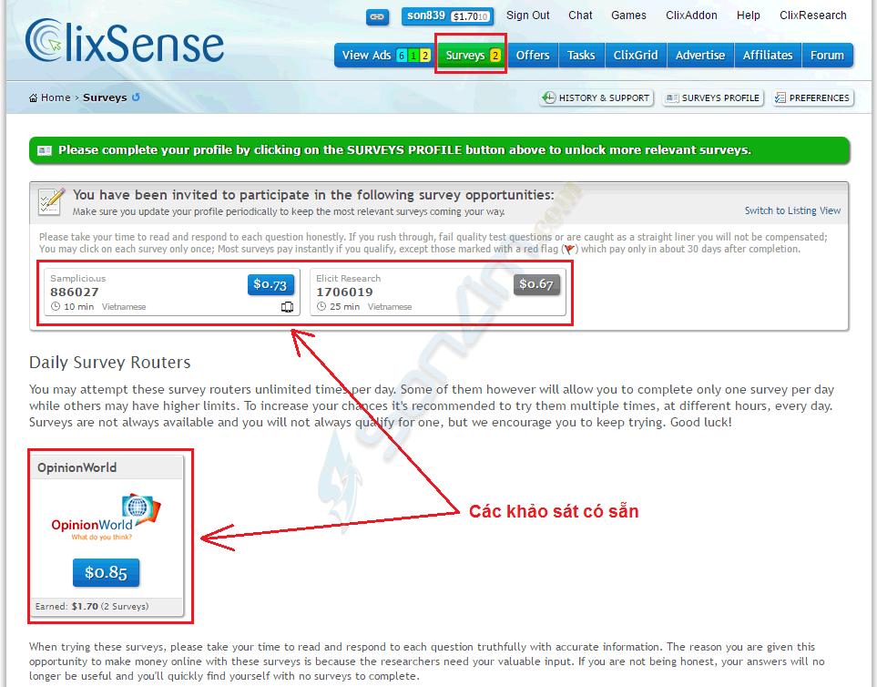 Cách kiếm tiền với ClixSense - 1