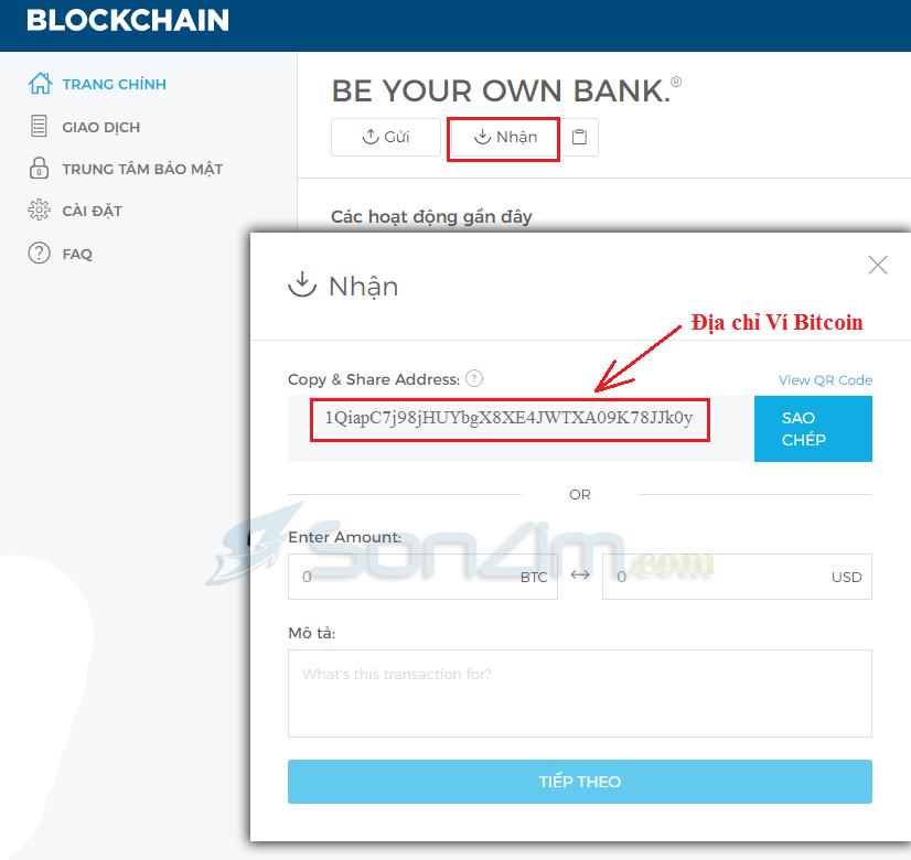 Cách lấy địa chỉ Ví Bitcoin trên Blockchain.info