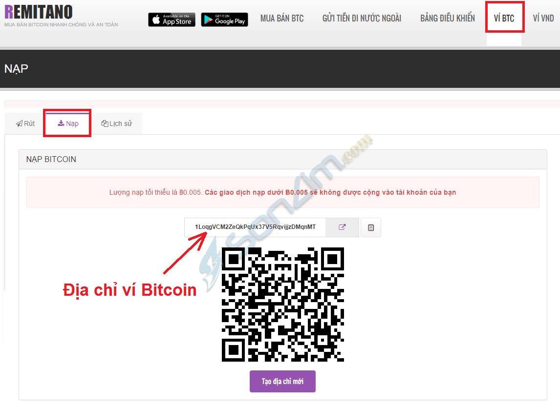 Địa chỉ Ví Bitcoin trên Remitano