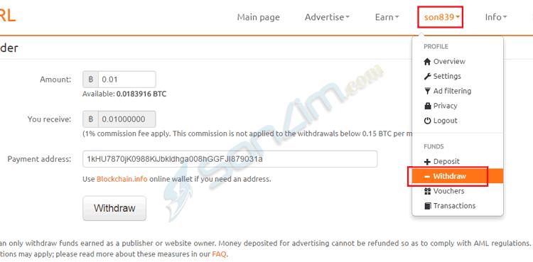 Kiếm Bitcoin trên CoinURL từ rút gọn link và đặt quảng cáo lên blog/website - 8