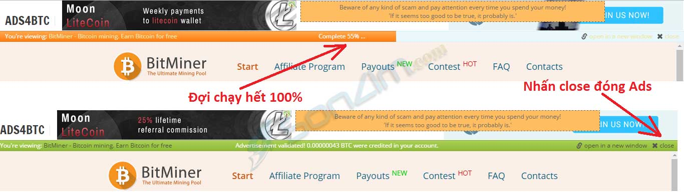 Click quảng cáo kiếm bitcoin miễn phí trên Ads4btc - 6