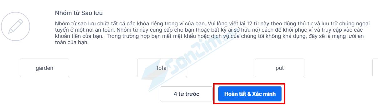 Sao lưu nhóm 12 từ khôi phục cho Ví Blockchain - 4