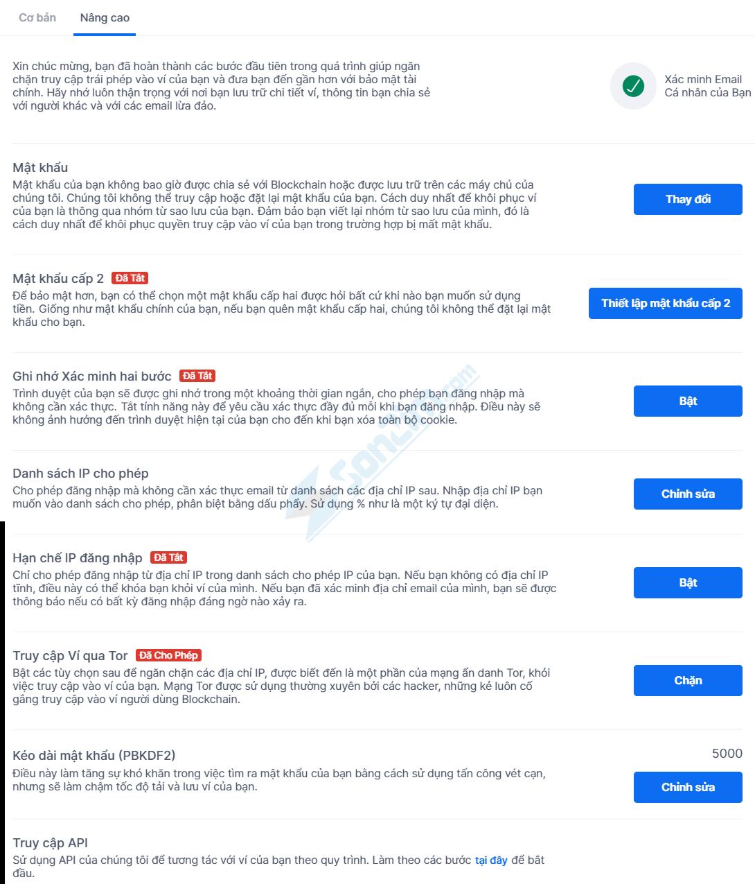 Thiết lập các tính năng bảo mật nâng cao cho Ví Blockchain