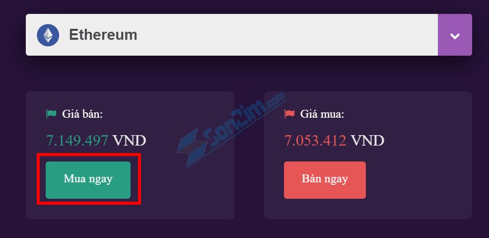 Bước 1: Nhấn vào Mua ngay để mua Ethereum nhanh nhất
