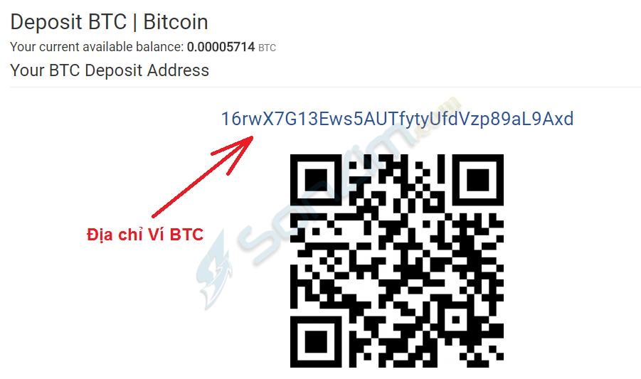 Cách lấy địa ví BTC trên CoinExchange - Bước 4