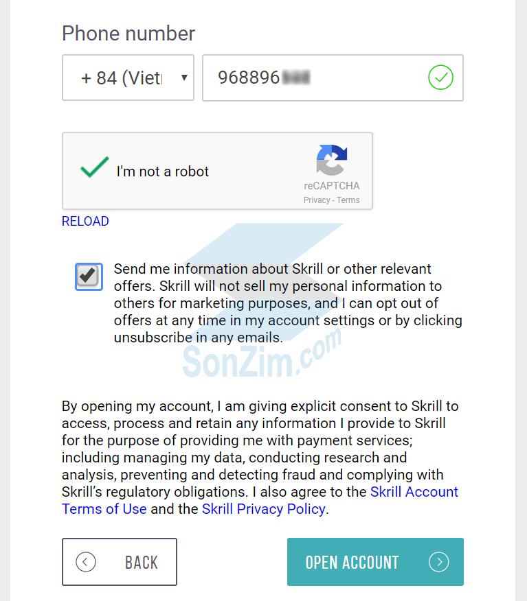 Cách đăng ký tài khoảnSkrill - Bước 5