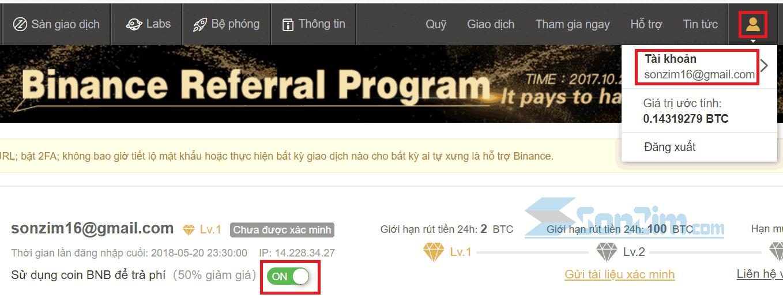 Sử dụng BNB để trả phí giao dịch