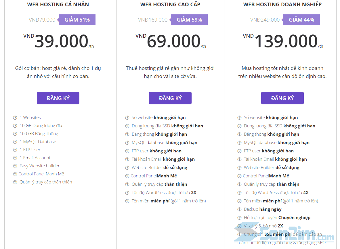 Các gói web hosting giá rẻ của Hostinger