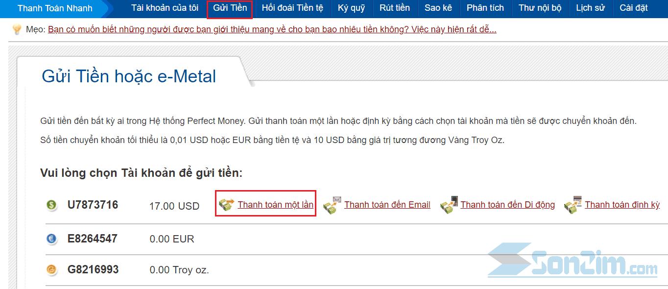 Cách gửi tiền Perfect Money - 1