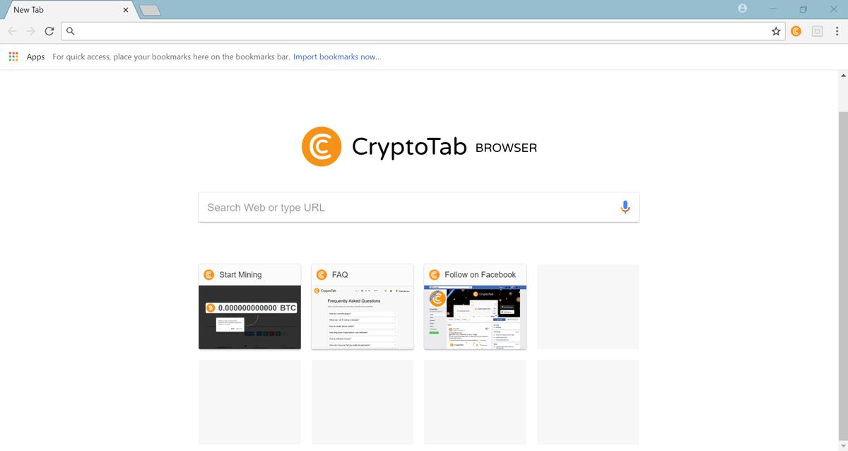 Giao diện trang chủ của trình duyệtCryptoTab