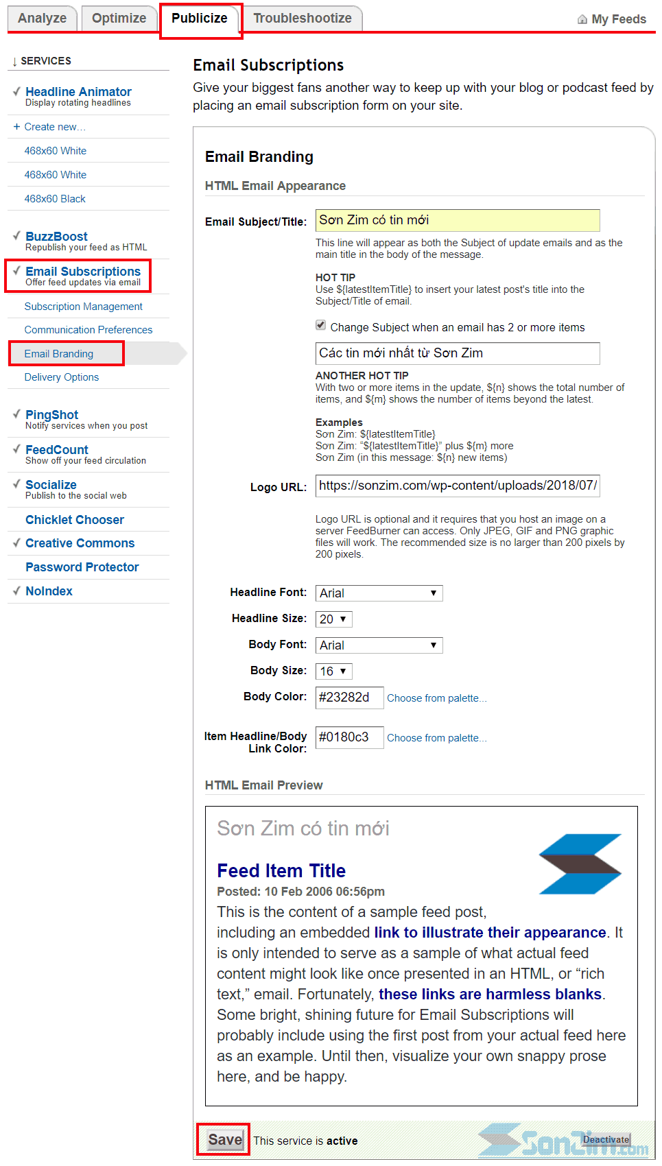 Mẫu email gửi bài viết mới trên FeedBurner