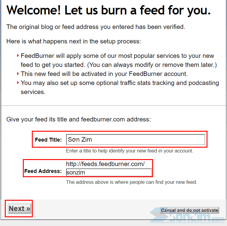 Cách thêm blog vào FeedBurner - Bước 3