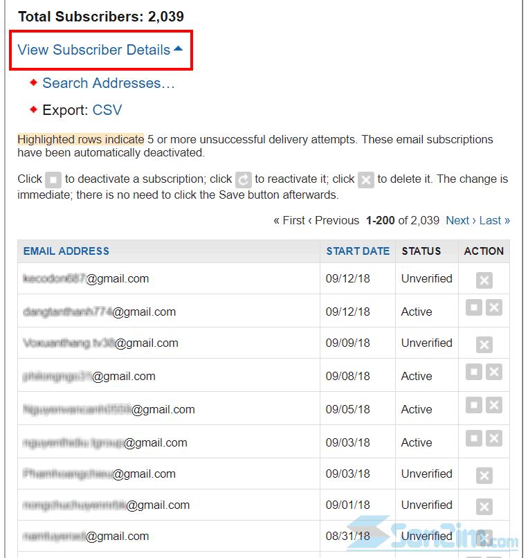 Kiểm tra danh sách email FeedBurner