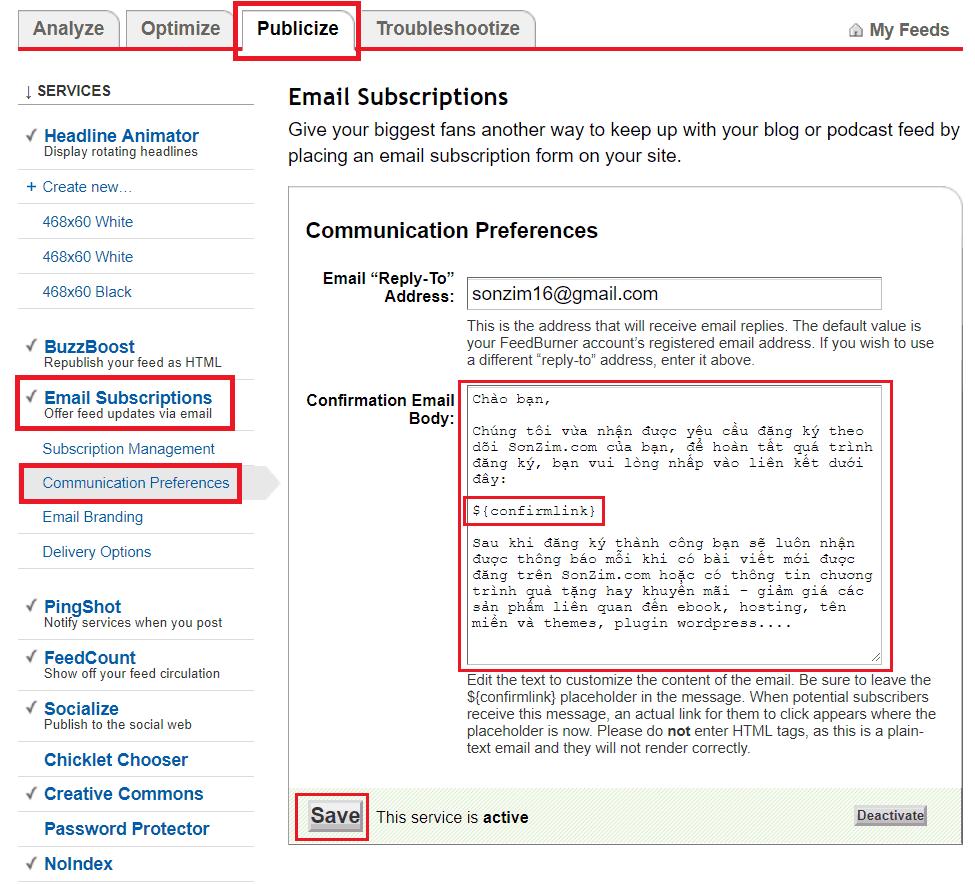 Thiết lập mẫu email kích hoạt FeedBurner
