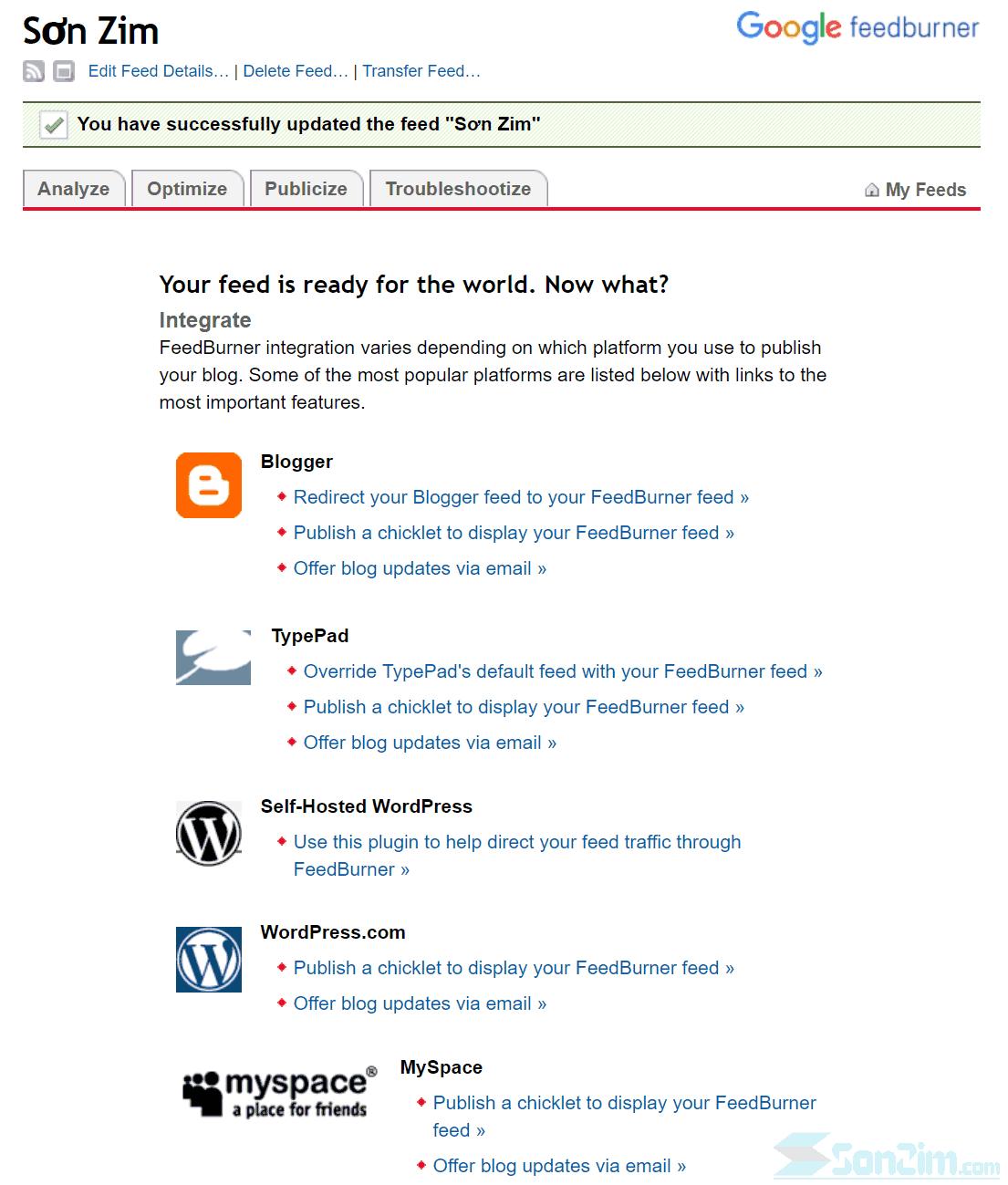 Cách thêm blog vào FeedBurner