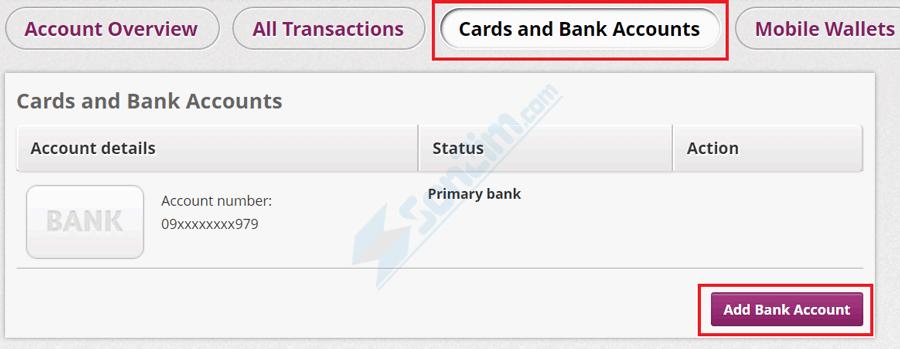 Cách thêm tài khoản Ngân hàng vào ví Skrill - Bước 1