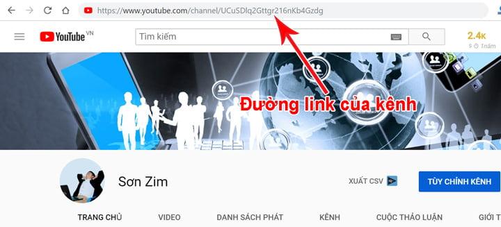 Cách kiểm tra mức độ Spam cho kênh Youtube  - Lấy đường link kênh bước 2