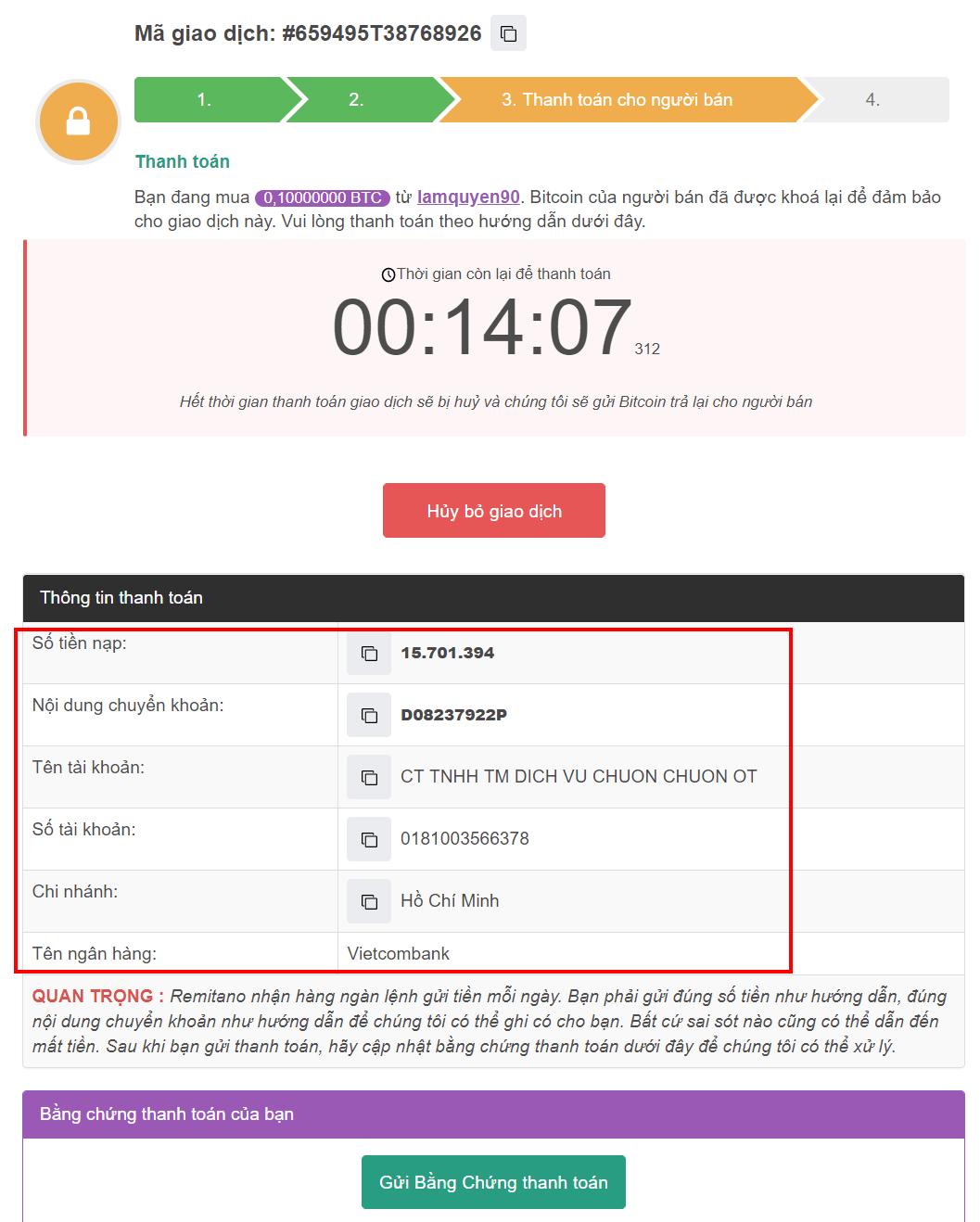 Cách mua Bitcoin trên Remintano - Bước 3