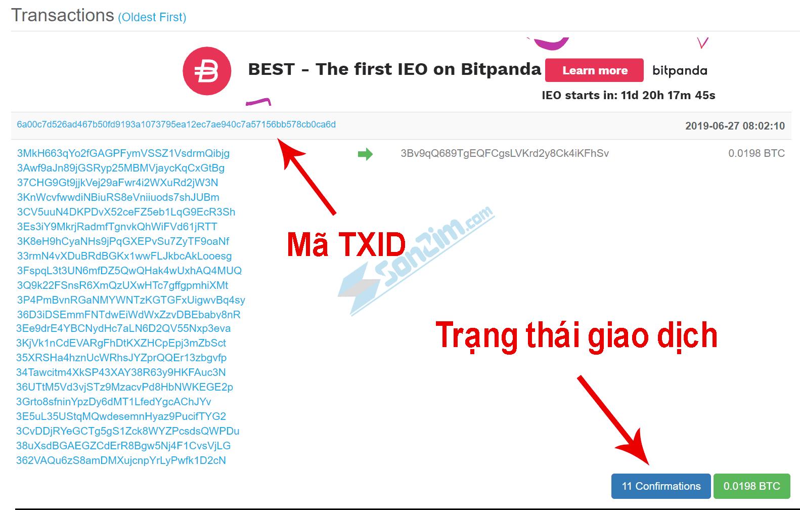 Cách kiểm tra giao dịch bitcoin bằng địa chỉ Ví - 11 xác nhận