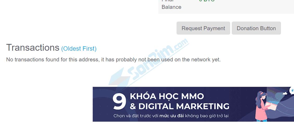 Chưa có giao dịch bitcoin diễn ra