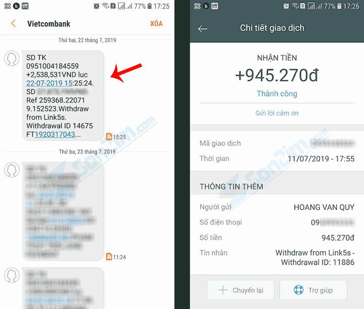 Bằng chứng thanh toán từ Link5s - Trang rút gọn link kiếm tiền tốt nhất Việt Nam
