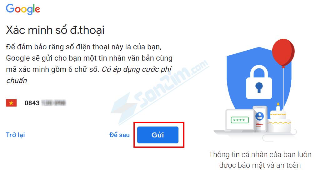 Cách tạo tài khoản Google - Bước 3