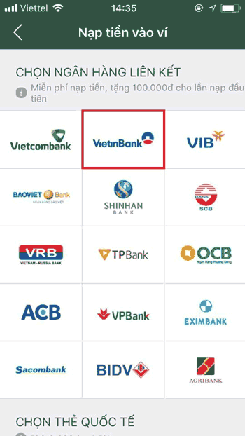 Bước 2 :Chọn vào VietinBank - Cách liên kết MoMo với Vietinbank