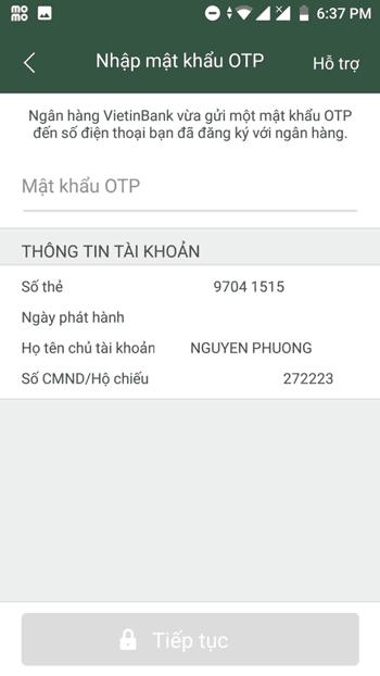 Bước 4 :Nhập mã OTP - Cách liên kết MoMo với Vietinbank